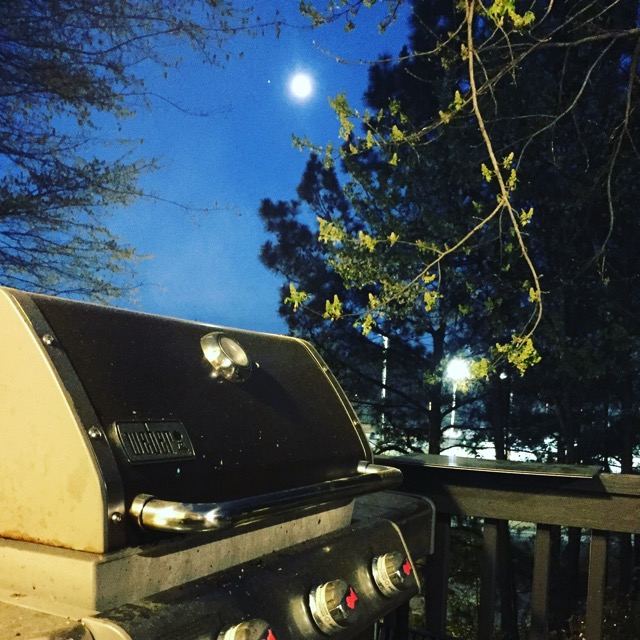 Spring Moon over My Weber Genesis