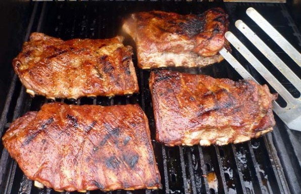 BBQ Ribs on a gas grill