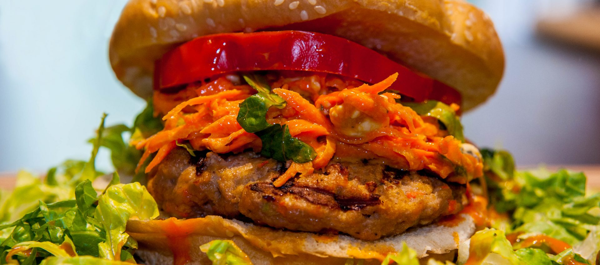 Spicy Buffalo-Blue Cheese Turkey Burger with Creamy Carrot ...